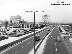 c1970: Princes Street, Swindon (Local Studies, Swindon Central Library) Tags: bridge bw court swindon princesstreet police photograph 1970 1970s wiltshire carpark policestation ea nationwide paramount towncentre adver c1970 p31129