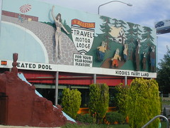 Allstar Travel Motel Salt Lake City (Edge and corner wear) Tags: city travel red lake pool swimming restaurant hotel utah ut salt motel billboard motor roadside fairyland kiddie scottys romney iguanra