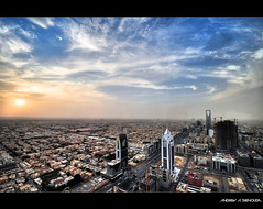 Aerial View of Riyadh [HDR] (Bakar_88) Tags: city sunset clouds cityscape riyadh saudiarabia hdr ksa cityplanning kingdomtower dustclouds arriyadh kingfahdroad kingfahadroad sunsetinriyadh