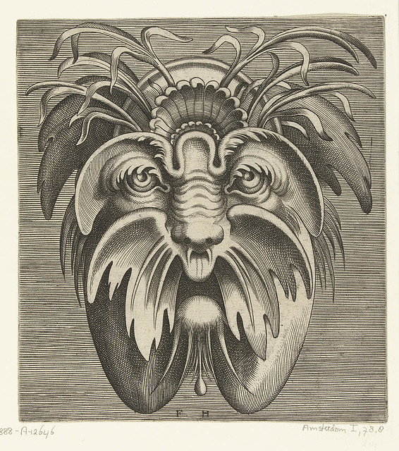 organic abstract mask engraving - masque grotesque