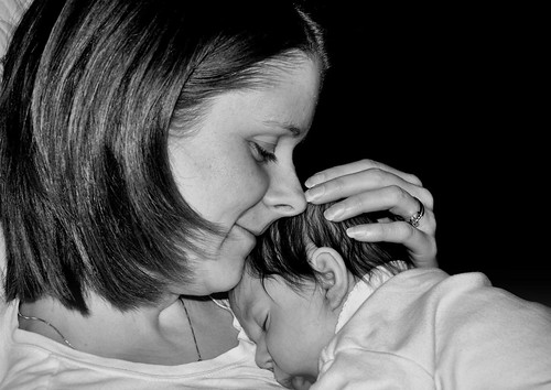momma and abby bw
