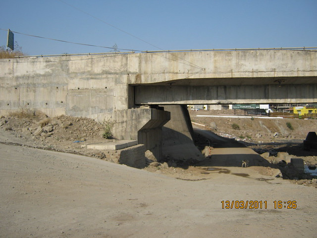 Way under the bridge by the river RamNadi from Rohan Ishan & Eva in Bavdhan Budruk to other side of Mumbai Bangalore Bypass