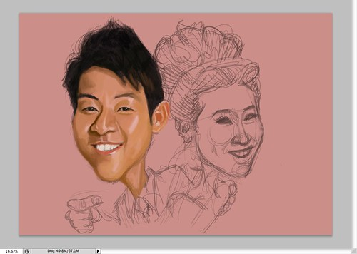 digital couple caricatures - Eugene - 1