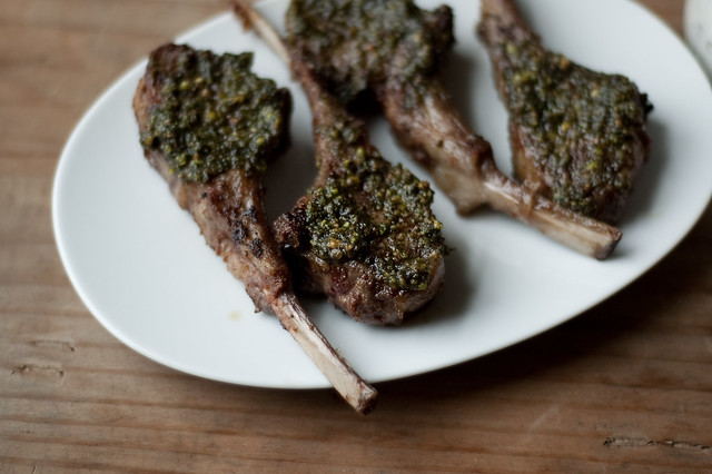 pistachio, mint, & spice crusted lamb chops