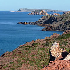 Vivid red-orange rocky coastline of Menorca (Bn) Tags: blue red sea moon lighthouse holiday beach water forest swimming swim landscape geotagged island back spain sand woods mediterranean crystal cove dunes dune rocky peaceful lagoon calm unesco formation clear virgin caves pines edge limestone vegetation nudist coastline remote calas nudity bays climate isolated menorca laid secluded minorca reddish unspoiled balearic maan watercrystal hillsides naturists capdecavalleria nuturism caladelpilar geomenorca coastlinenatural environmentsunescobiosphere reservemediterranean beachspainbalearicsmenorcaturquoise islandsrocky geo:lon=3976386 geo:lat=40051517