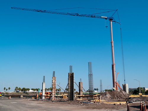 Construction area with crane