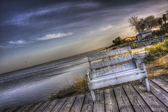 Sittin' On The Dock Of The Bay (Didenze) Tags: wood old light sky lake texture beach bench dock soft moody angle smooth shore dreamy hdr goldenhour saltonsea saltoncity canon450d hdrspotting didenze