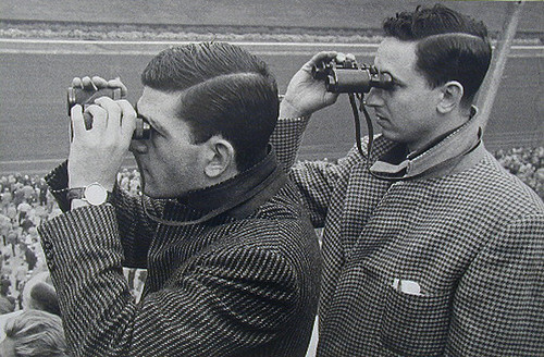 Lisette Model, Belmont Park, Race Track, Two Men with Binoculars, 1956