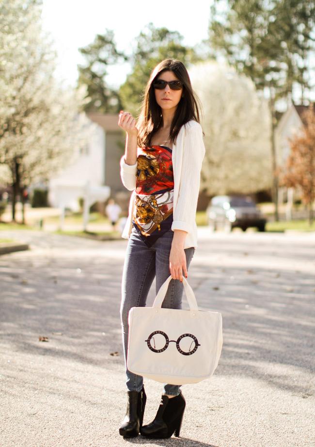 Fashion, Sam Edelman Balenciaga boots, James Jeans, Skinny Jeans, Hermes scarf