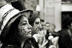 _DSC9440BN (farnitano.amos) Tags: street city two portrait people blackandwhite bw italy woman rome roma girl face donna nikon europa europe strada italia gente protest bn ritratto due biancoenero ragazza città manifestazione faccefaces stphotographia 26marzo2011