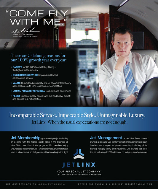 Jetlinx ad in Modern Luxury Magazine
