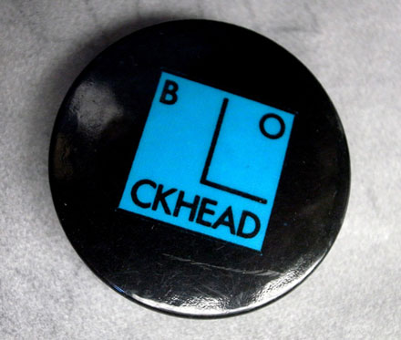 Barney Bubbles' Blockhead logo - badge 1978.