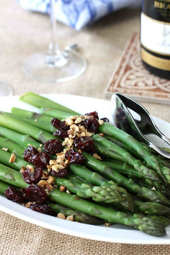 Asparagus with Hazelnuts & Dried Cherries