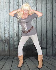 Bitchy... (Irene Nyman) Tags: irene nyman dutch crossdresser bitchy attitude suede boots brown stretch jeggings tuck little swiss miss curves belt irenenyman dutchtgirl blueeyes cilf transvestite tgirl xdress xdresser transgirl