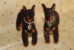 Needle felted dog: Beauceron 5 & 6 (~WelshStump~) Tags: dog dogs canine puppy needle felt felted felting fiber art arts soft sculpture replica breed purebred handmade ooak herd herding group fleece sheep wool border leicester shetland koolaid dyed dye natural beauceron beauce shepherd sheepdog french bergerdebeauce bas rouge cropped ears black rust tan harlequin arlequin merle