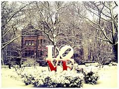 LOVE Snow #3 (luidude) Tags: autumn trees snow fall philadelphia leaves campus pennsylvania centercity fallcolors snowstorm pa penn philly upenn universityofpennsylvania phila lovesculpture camarabag canonpowershotsd950is