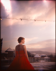 Anja III (Andreas Ulvo) Tags: light red portrait holga dress lofi numbers leaks