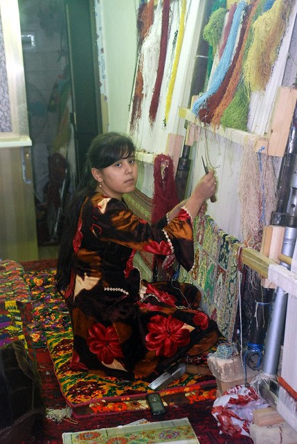Girl working on a Carpet, Bukhara