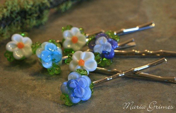 Lampwork Flower Hair Pin