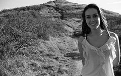 (kim scarsella) Tags: california blackandwhite woman mountain film girl smile marin january hike tanktop bushes millvalley