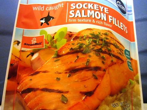 Frozen salmon filets