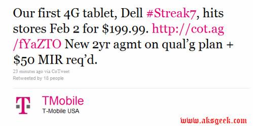 T-Mobile Dell Streak 7- twitter