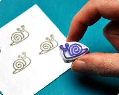 Snail hand carved rubber stamp
