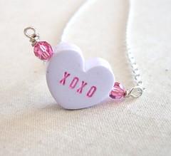 XOXO (LoveYourBling) Tags: heart handmade etsy beaded valentinesday swarovskicrystal conversationhearts crystalheart handwoven handmadejewelry loveyourbling
