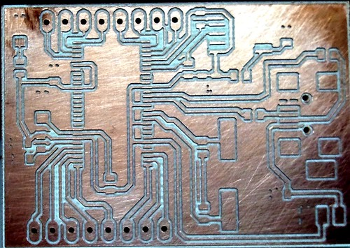 Acid (ferric chloride FeCl) etched the milled PCB for one minute