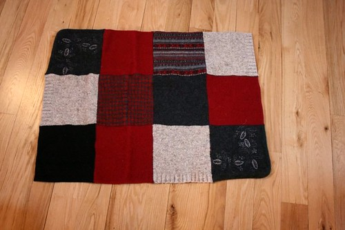 Red, black, gray wool rug