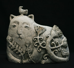 grassdreamer (RAMIL) Tags: sculpture cat ceramic contemporary handbuilt