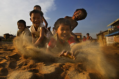 Steung Meanchey, Phnom Penh - We are having fun! (Mio Cade) Tags: boy horse children fun kid sand toddler cambodia play joy happiness phnom penh steung meanchey