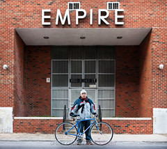 #BikeNYC Portrait: Hugo (Dmitry Gudkov) Tags: nyc newyorkcity brick bike bicycle industrial cyclist bronx entrance symmetry entryway empire biker bicyclist hugo chromebag piojo bikecommuter bicyclecommuter bikenyc bikeportrait citycycling portmorris cyclechic brooklynphotographer handmadebike bicycleportrait dmitrygudkovphotography bokehpanorama brenizermethod bikephotographer