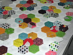 Flower Garden FMF quilt -Top (Sew-Fantastic) Tags: sewing quilting hexagons quit fmf paperpiecing fleamarketfancy hexies