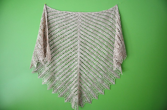 Shell & Feather crochet shawl finished-34x62inches-1