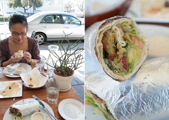 a falafel wrap and sunny weather
