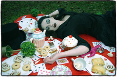 Alice In Wonderland... Good VS Bad - by Darren Cheshire (Darren Cheshire Photography) Tags: park uk england woman playing black sexy rabbit cup girl darren fashion cake sex liverpool vintage cards picnic photographer dress cheshire jessica tea witch alice gothic goth samsung style pic polka dot fairy cupcake sweets glam dots dslr nic wonderland tale dildo rampant merseyside gx20 sefton