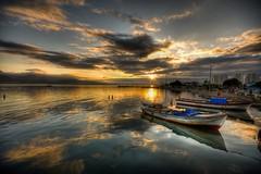 Sunset reflections (Nejdet Duzen) Tags: trip travel sunset sea cloud reflection turkey boat trkiye deniz sandal izmir bulut gnbatm yansma turkei seyahat newvision naturepoetry maviehir saariysqualitypictures mygearandme peregrino27newvision