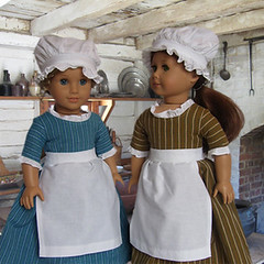 COLONIAL STRIPED WORK GOWN with APRON and MOB CAP