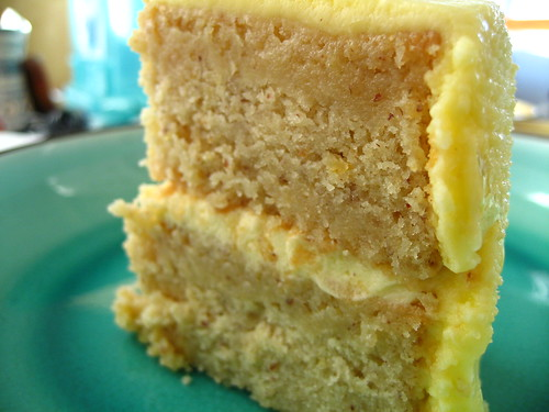 golden lemon lavender almond cake