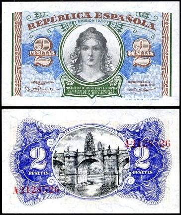 2 Pesety Španielsko 1938, P95