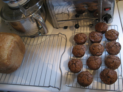 Bread and bran muffins for brunch