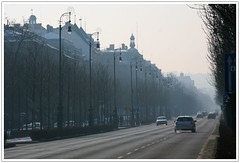 Andrásy Road (Katka S.) Tags: road street city mist lamp car fog architecture point alley hungary traffic centre capital budapest vanishing metropole
