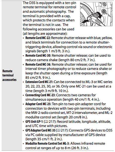 10-pin remote terminal, described in the Nikon D3S Manual