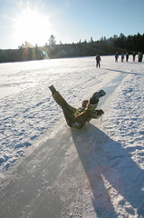 V Slide (peterkelly) Tags: winter sun lake snow ontario ice students digital forest frozen guelph shoreline shore whitney sliding algonquinpark wintercamping 2011 celp uppergranddistrictschoolboard titmouselake