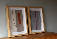 Up and out and Cutting edge ready for show (kikiclark) Tags: sanfrancisco blue orange art linen sewing fineart frame sewn cuttingedge idiom upandout kathrynclark