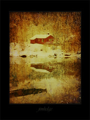 Cabin in Botn (jimhelge) Tags: ocean old reflection norway photoshop canon painting cabin hytte sandnessjen botn eos550d