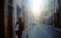 (@ohsensation) Tags: street italy film girl fog 35mm florence italia via firenze waking grainy olympustrip35 florena ragazza caminando analogic