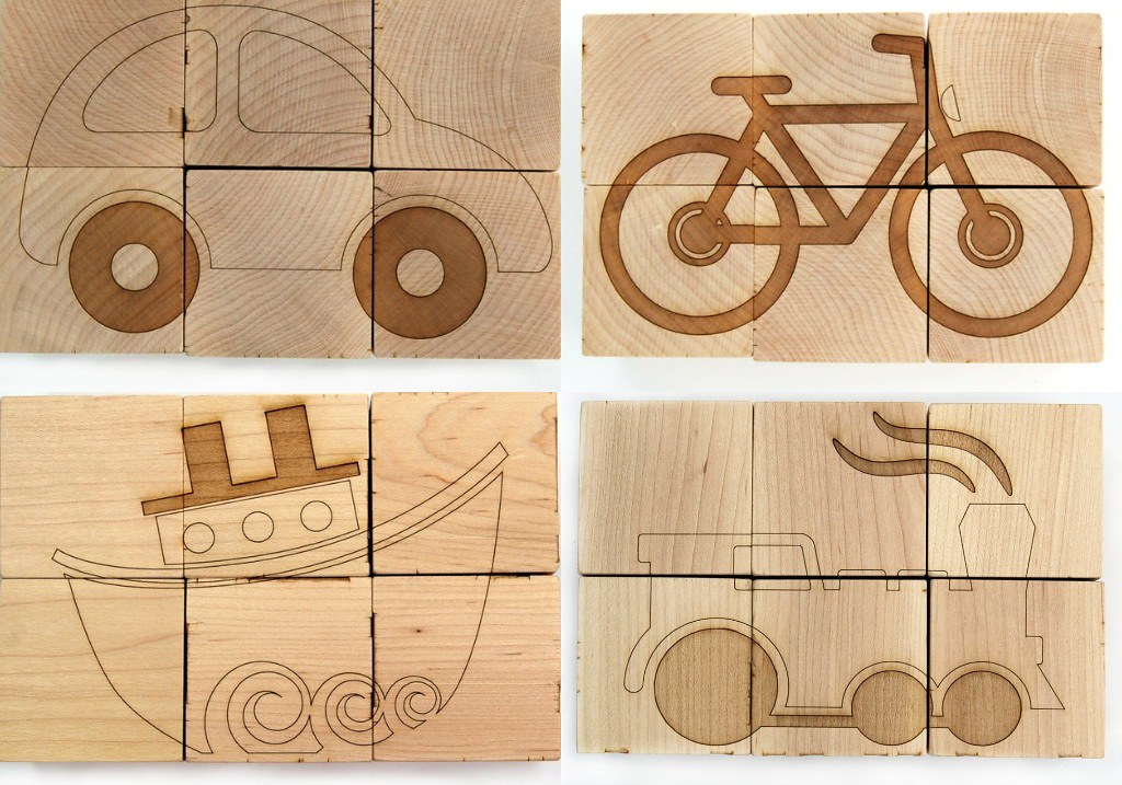 Transportation Block Puzzle - 6 pictures on natural wooden cubes