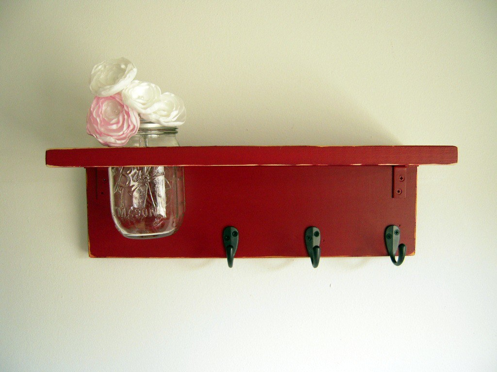 Shabby chic rustic country cottage wall decor 3 hook wall shelf in heirloom red with oil rubbed bronze hooks and a mason jar